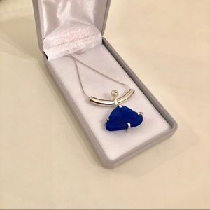 Blue Sea Glass sterling silver pearl necklace